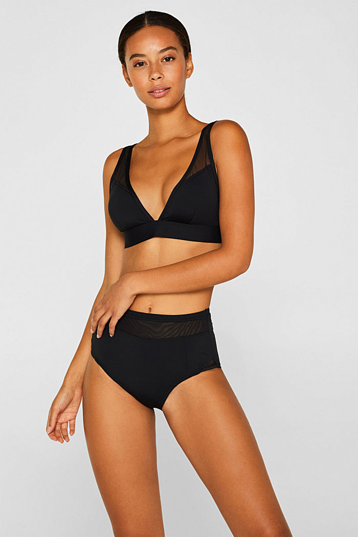 Padded top with mesh straps, BLACK, detail image number 0