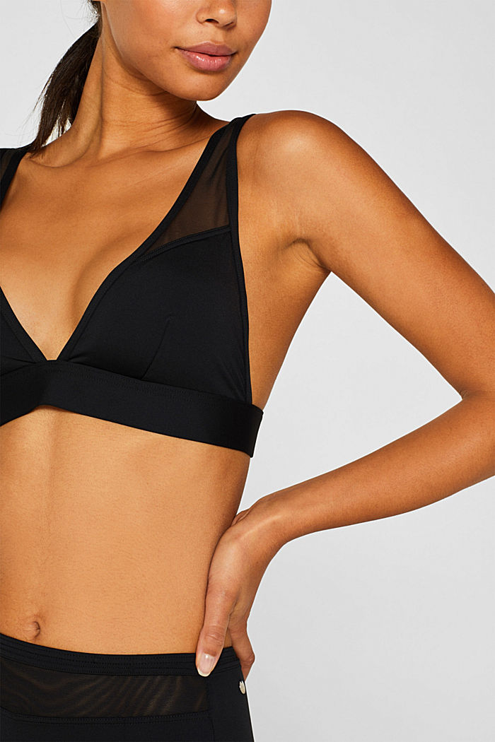 Padded top with mesh straps, BLACK, detail image number 2