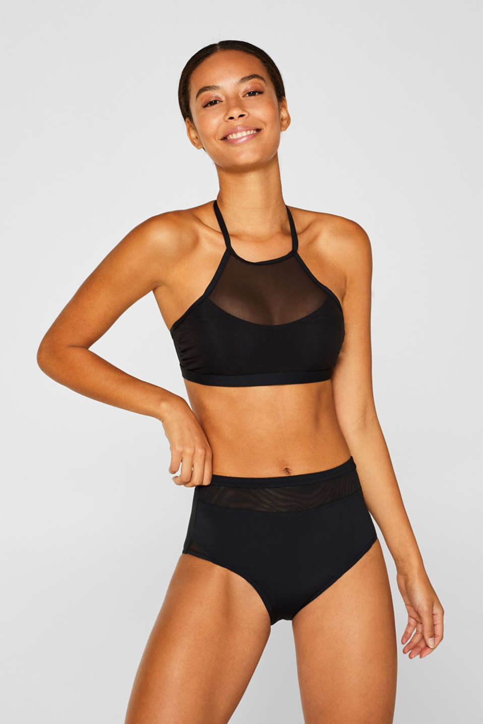 Padded high-neck top in mesh, BLACK, detail image number 0
