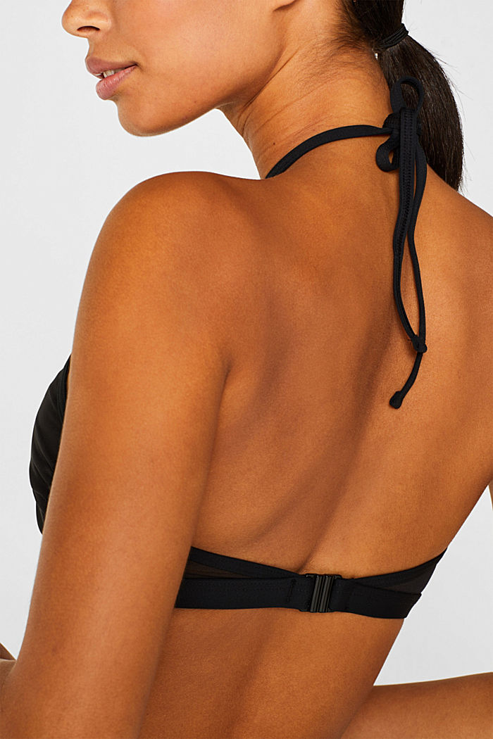 Padded high-neck top in mesh, BLACK, detail image number 1