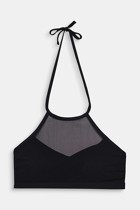 Padded high-neck top in mesh