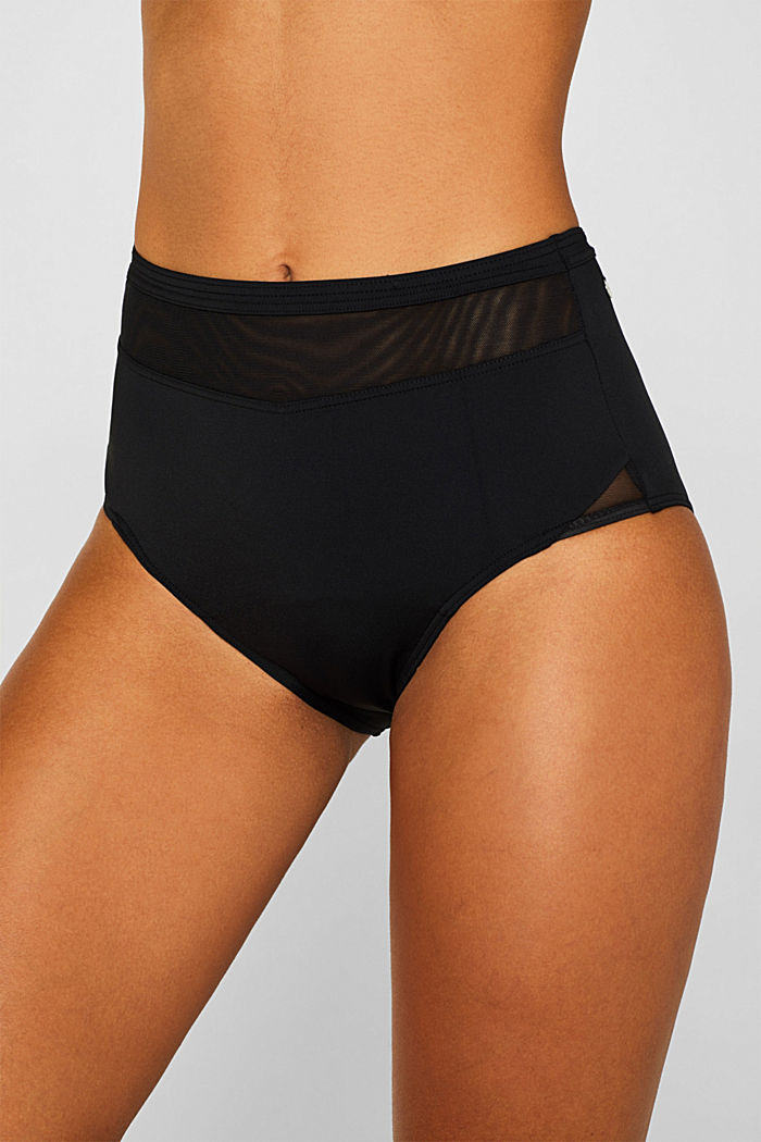 Shaping briefs with mesh trim