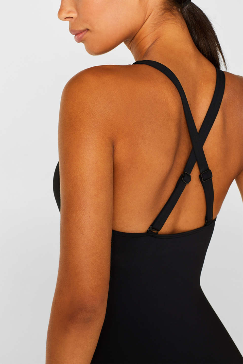 Padded swimsuit with mesh inserts, BLACK, detail image number 3
