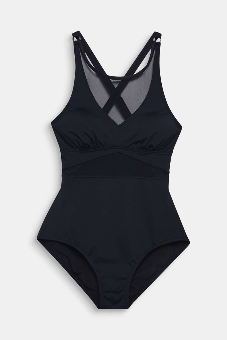 Padded swimsuit with mesh inserts, BLACK, detail image number 4