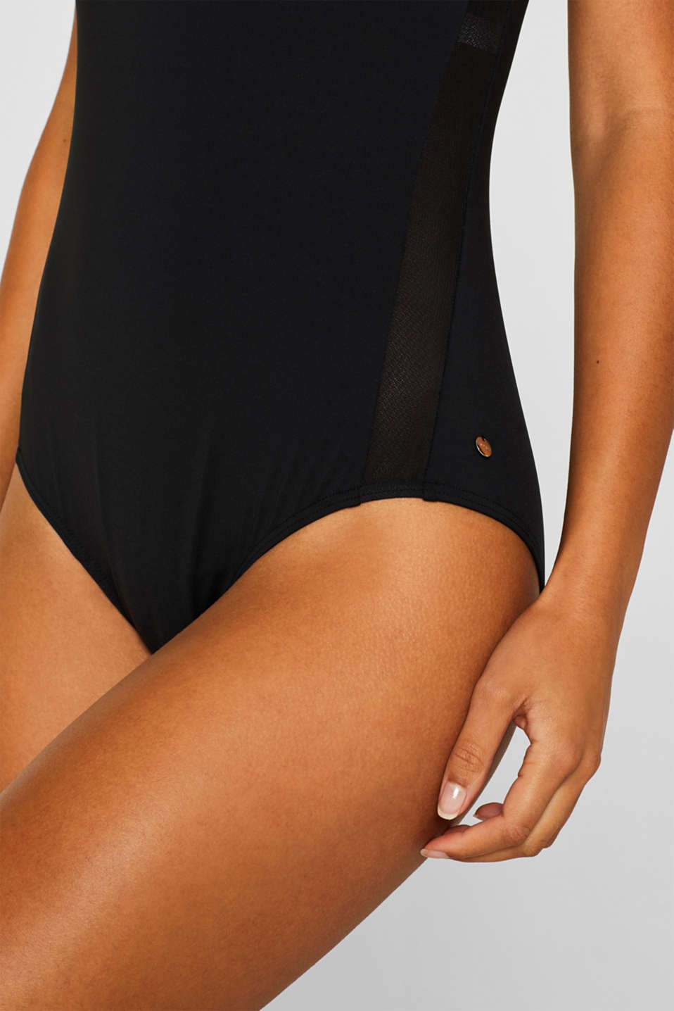 Swimsuit with concealed underwiring, BLACK, detail image number 2