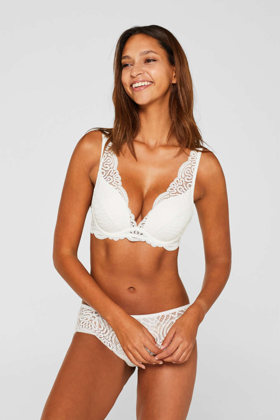 Push-up bra with decorative lace, OFF WHITE, detail image number 0