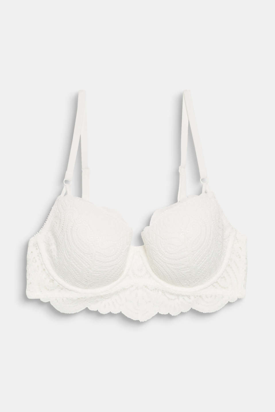 Padded underwire bra made of decorative lace, OFF WHITE, detail image number 4