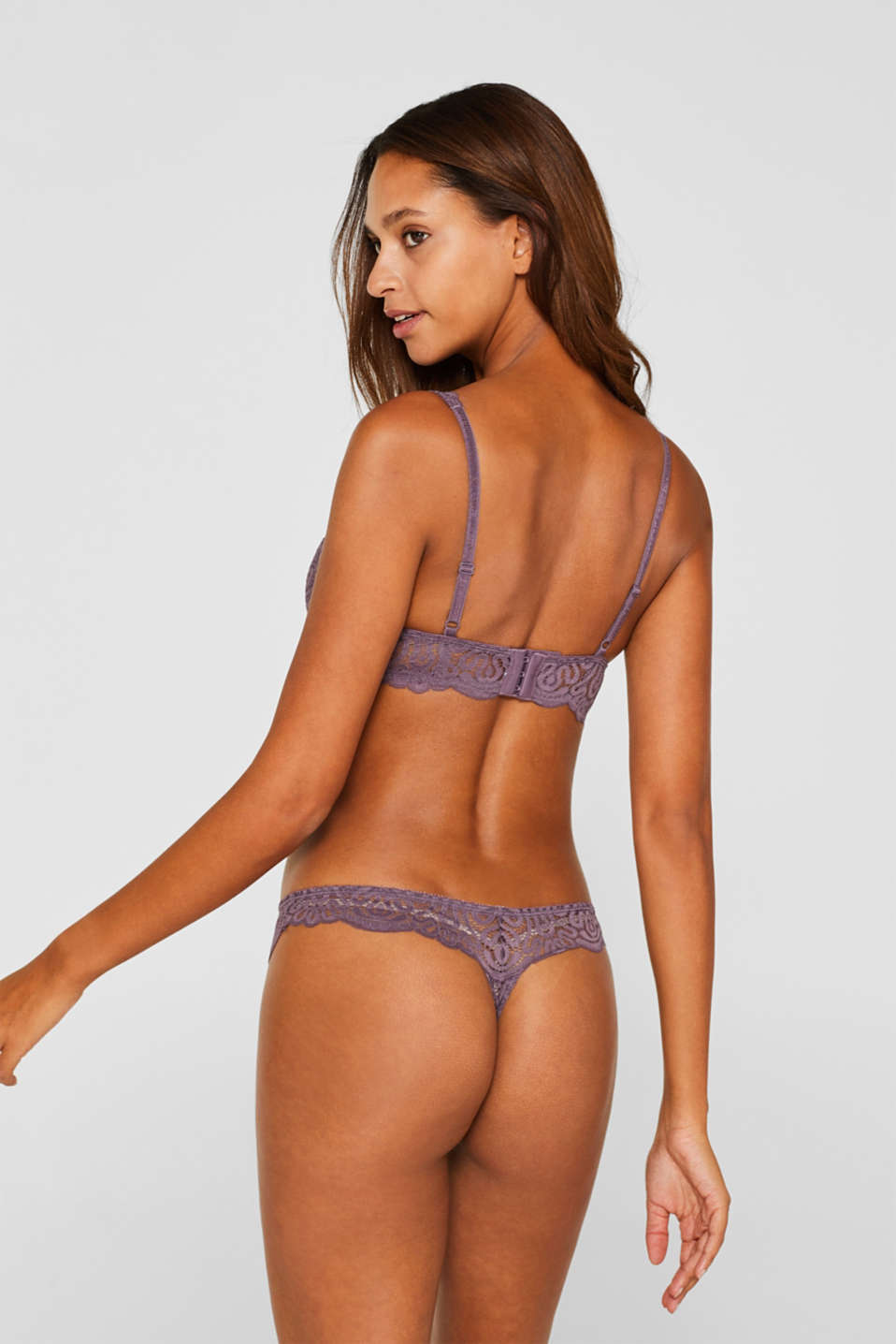 Push-up bra in decorative lace, BERRY PURPLE, detail image number 1