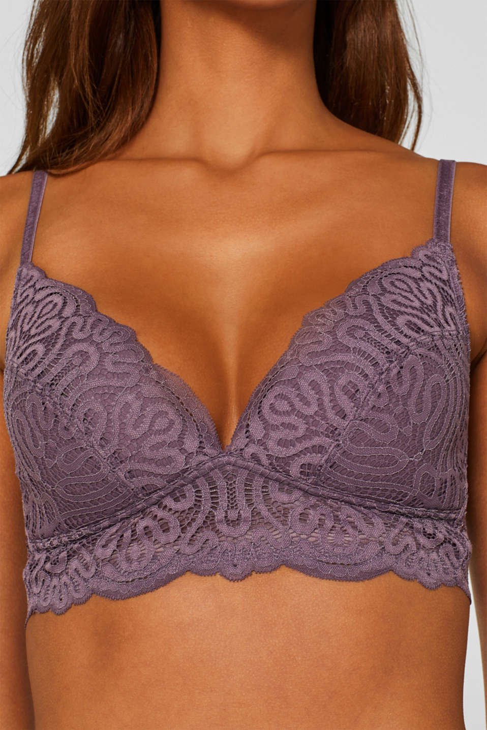 Non-wired padded bra made of decorative lace, BERRY PURPLE, detail image number 1