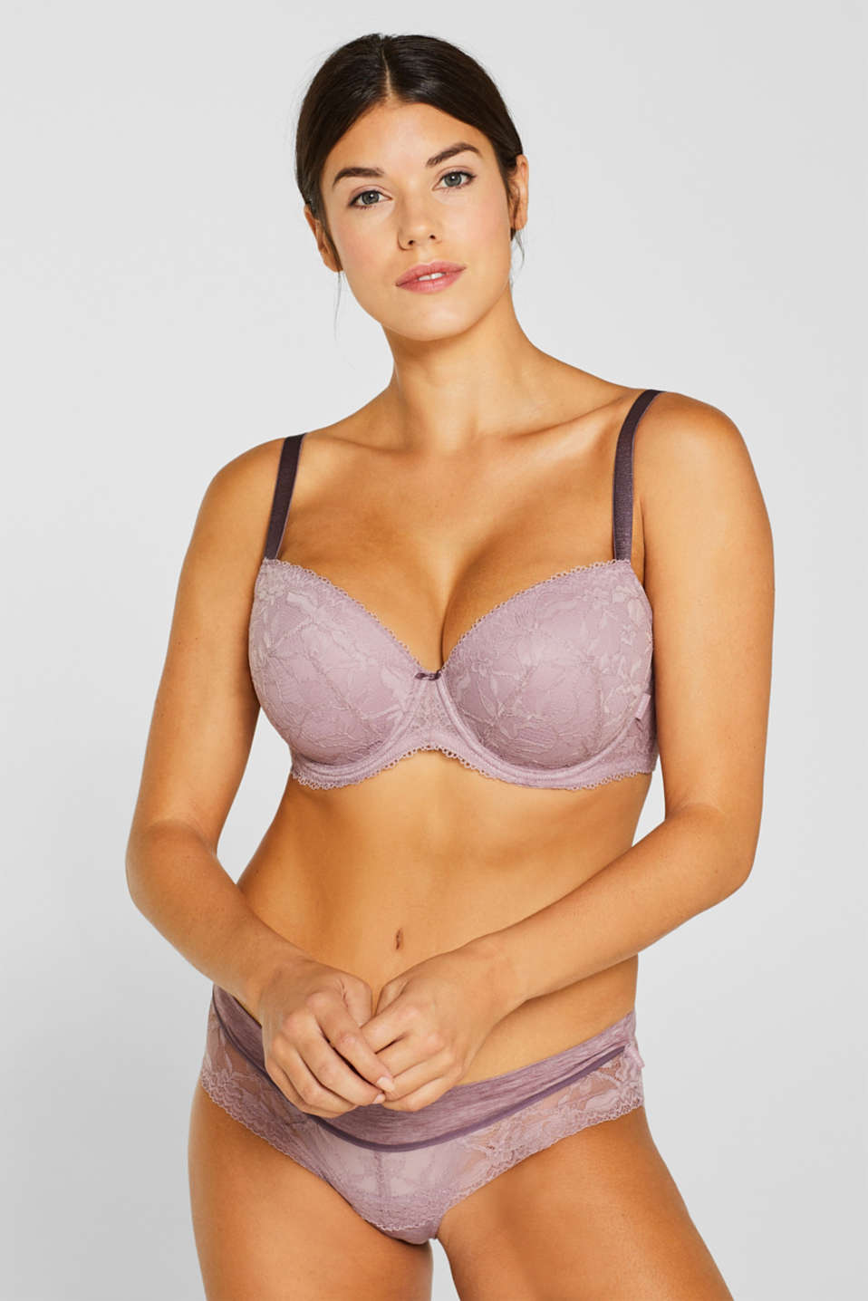Esprit - Padded, mixed material bra for larger cup sizes