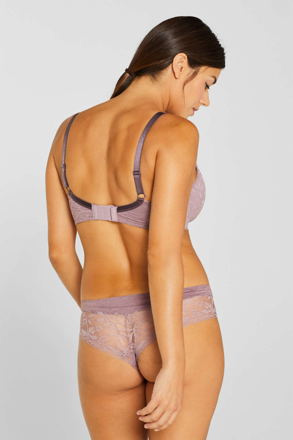 Padded, mixed material bra for larger cup sizes, MAUVE, detail image number 1