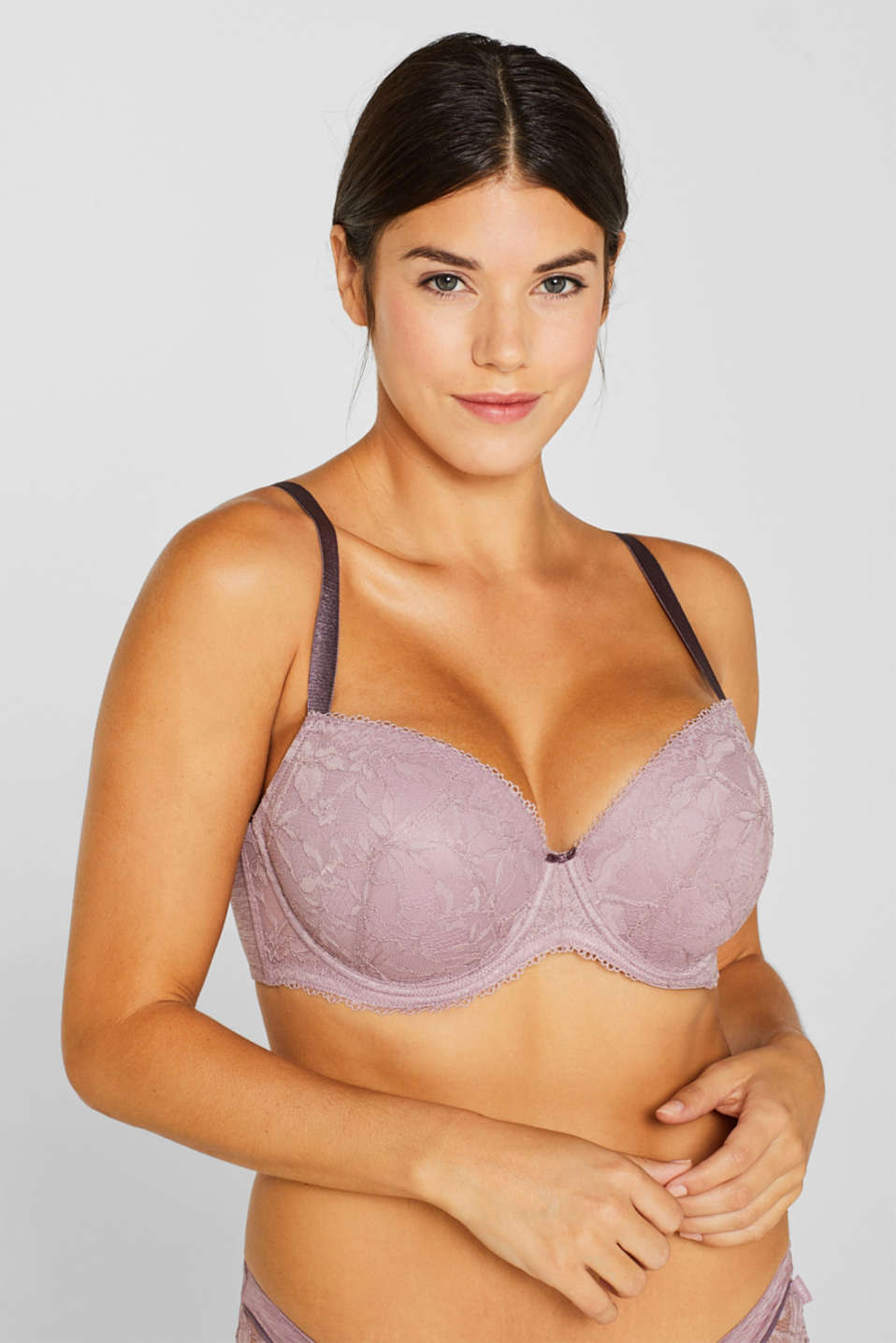 Padded, mixed material bra for larger cup sizes, MAUVE, detail image number 2
