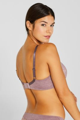 Padded, mixed material bra for larger cup sizes, MAUVE, detail