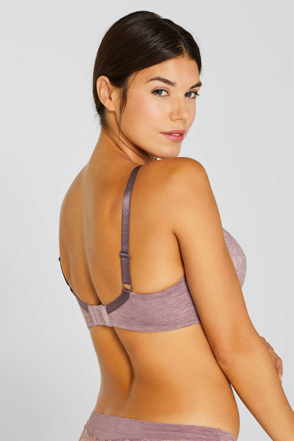 Padded, mixed material bra for larger cup sizes, MAUVE, detail image number 3