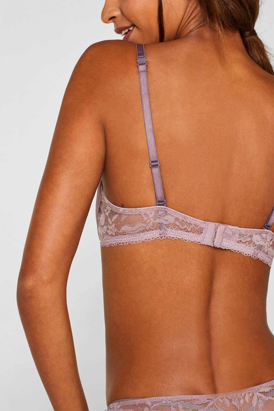 Unpadded underwire bra made of jersey/lace, MAUVE, detail image number 3