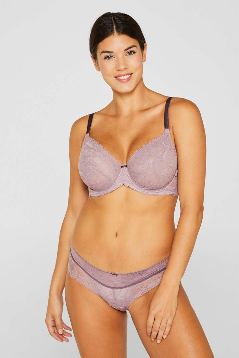 Esprit - Unpadded, mixed material bra for larger cup sizes