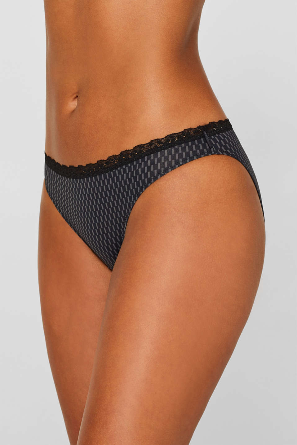 Hipster briefs with print and lace, BLACK, detail image number 1