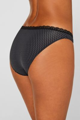 Hipster briefs with print and lace, BLACK, detail