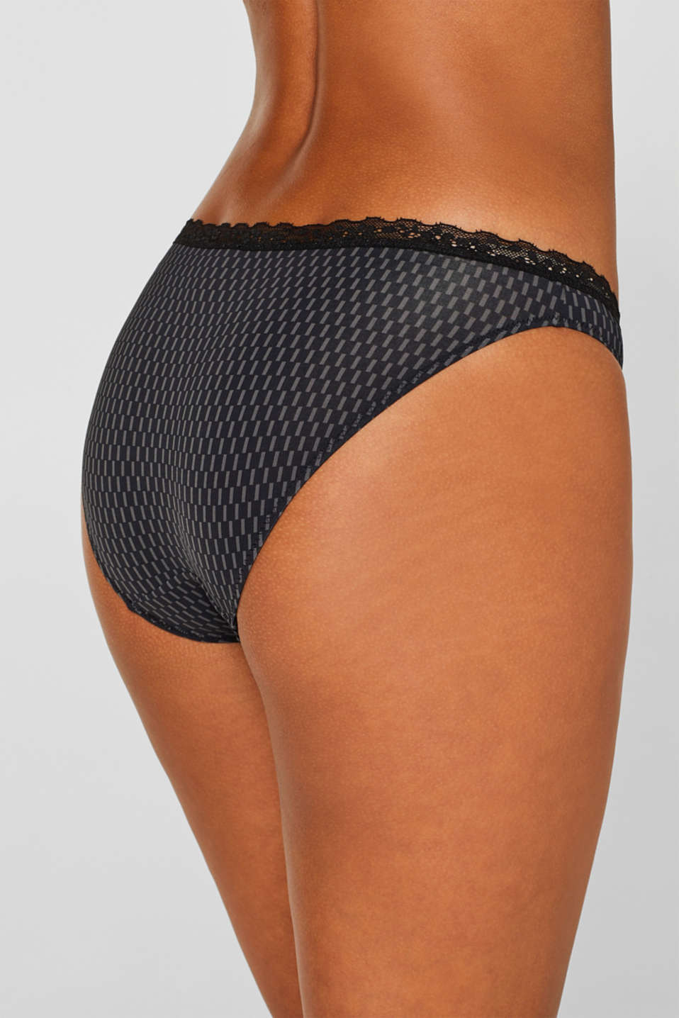 Hipster briefs with print and lace, BLACK, detail image number 3