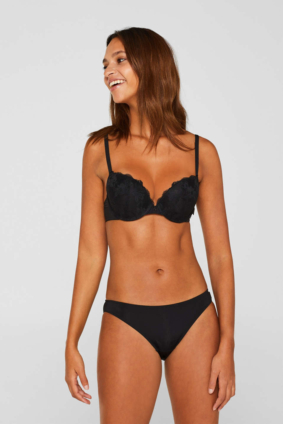 Esprit - Push-up bra with lace and stripes