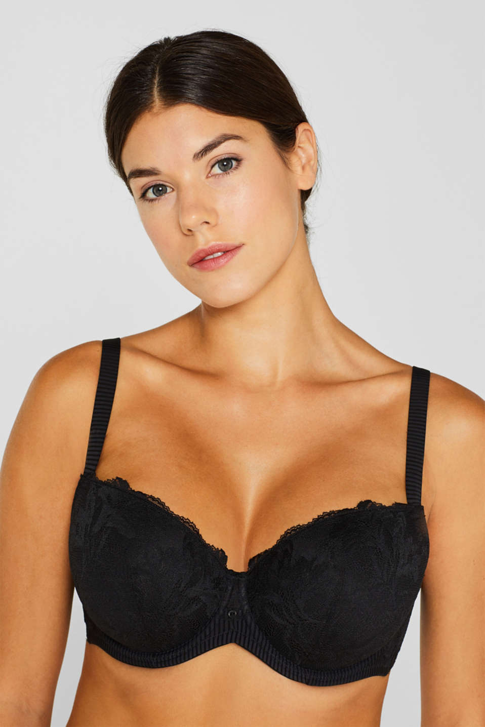 Padded lace bra for larger cup sizes, BLACK, detail image number 2