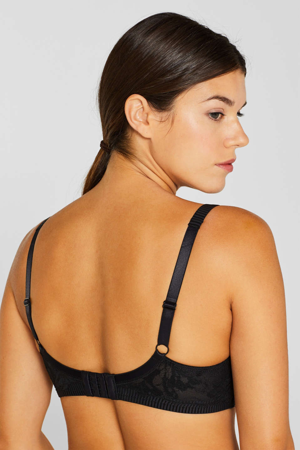 Padded lace bra for larger cup sizes, BLACK, detail image number 3