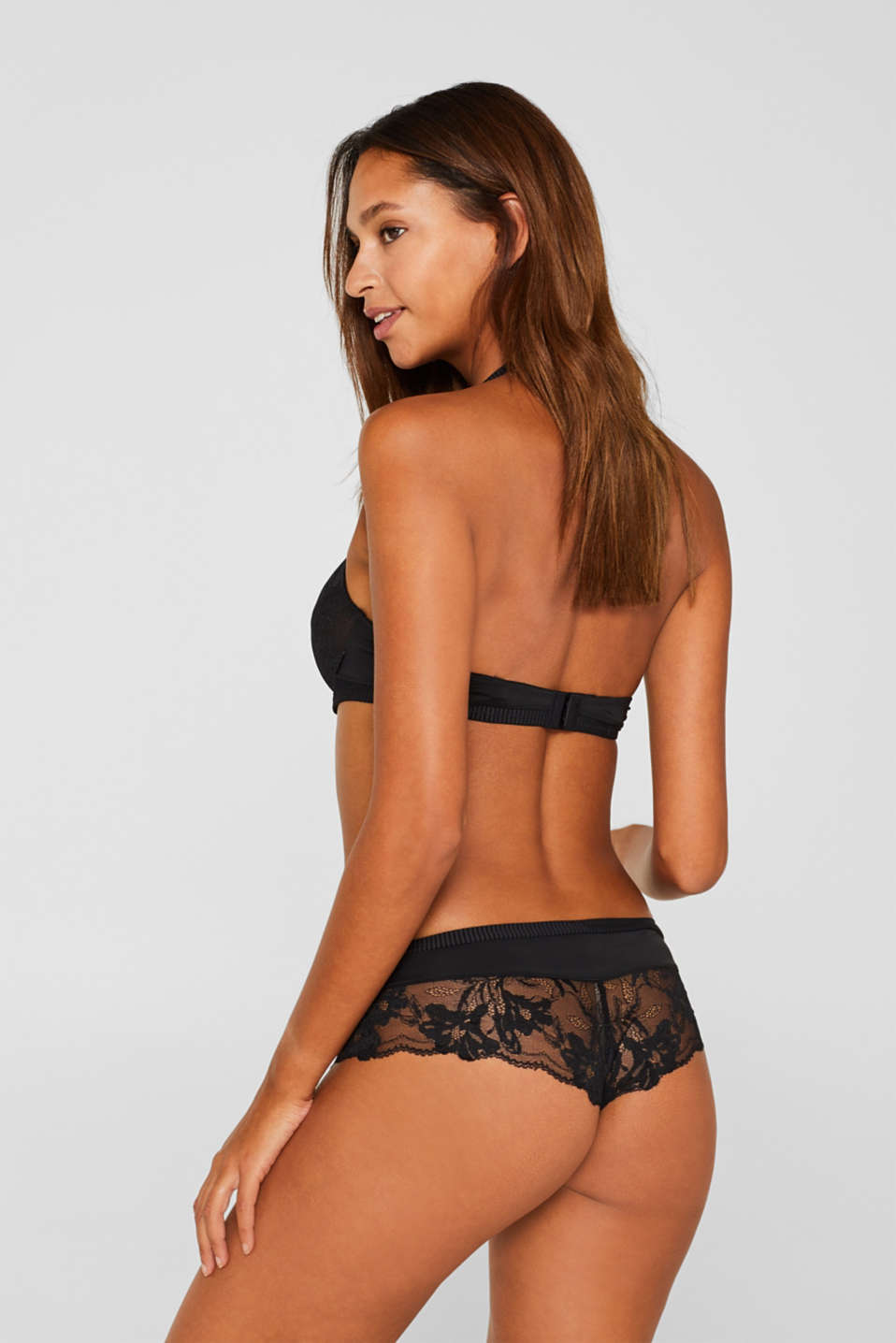 Hipster shorts with lace and stripes, BLACK, detail image number 2