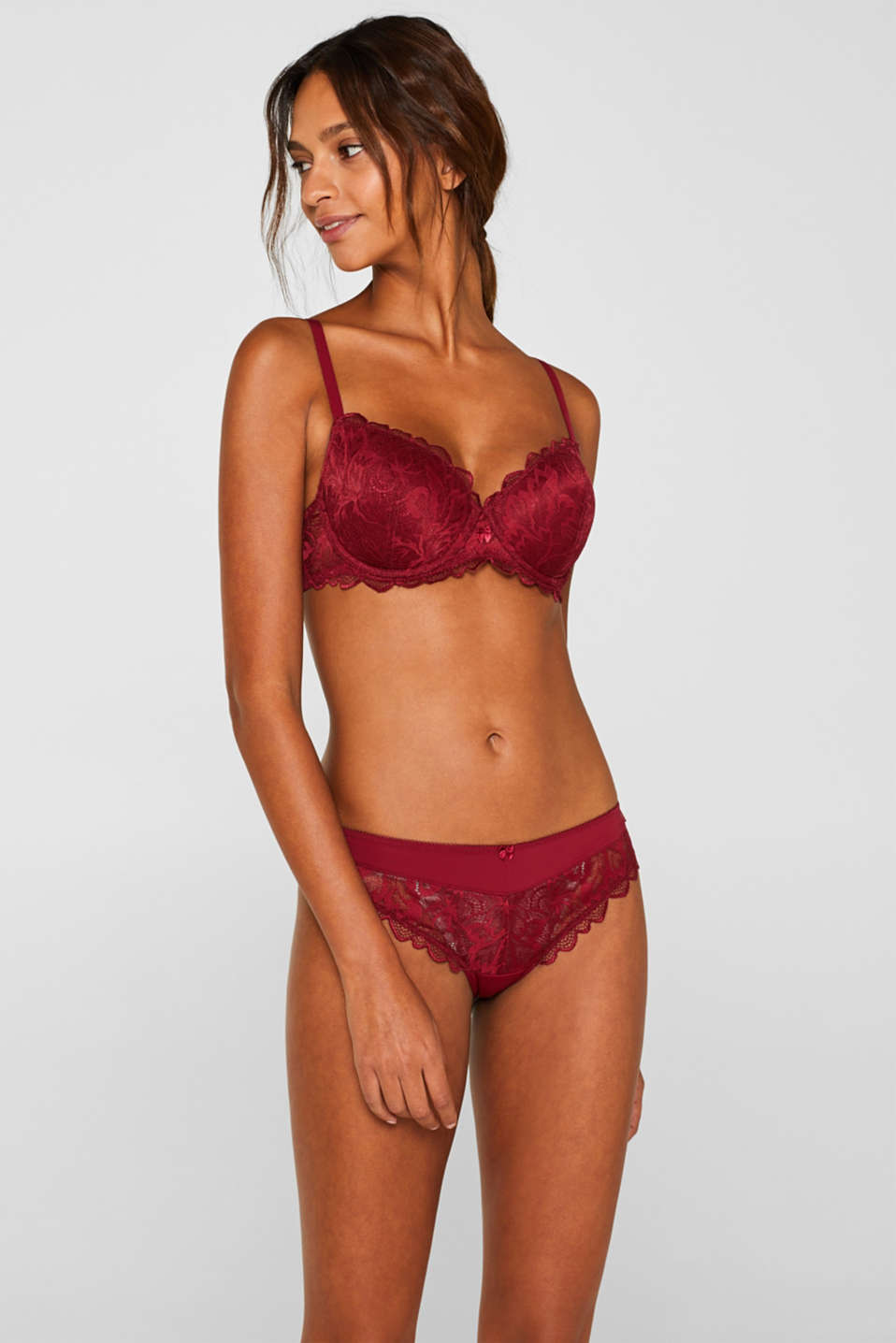 Padded underwire bra made of formal lace, DARK RED, detail image number 0