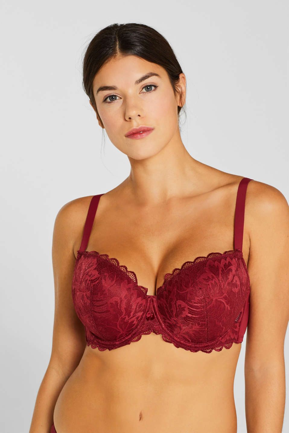 Padded lace bra for larger cup sizes, DARK RED, detail image number 0