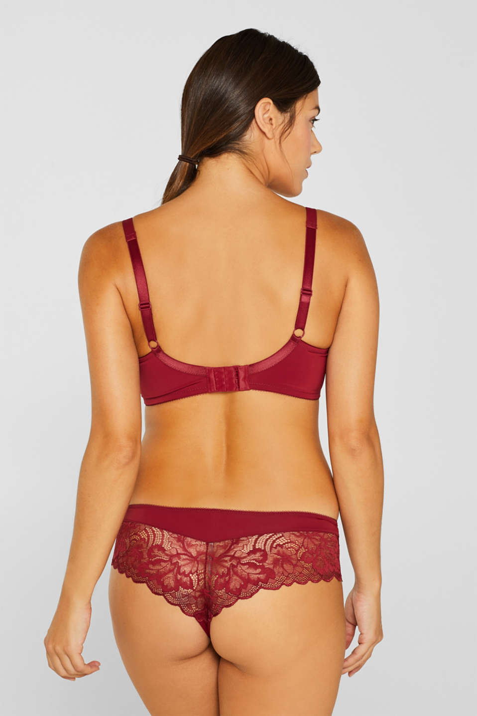 Padded lace bra for larger cup sizes, DARK RED, detail image number 1