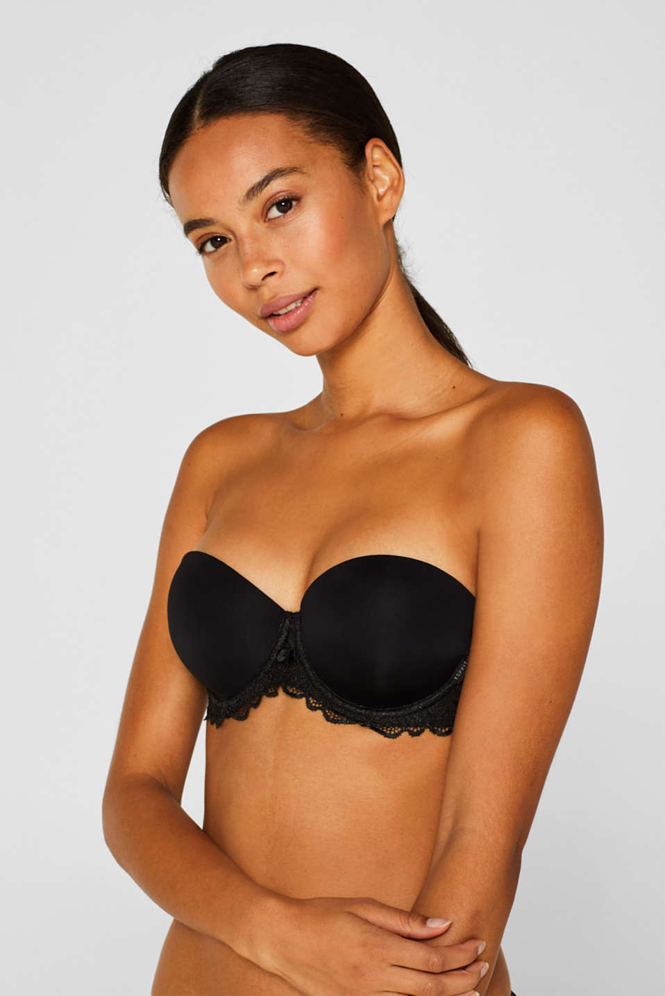Padded underwire bra with detachable straps, BLACK, detail image number 3