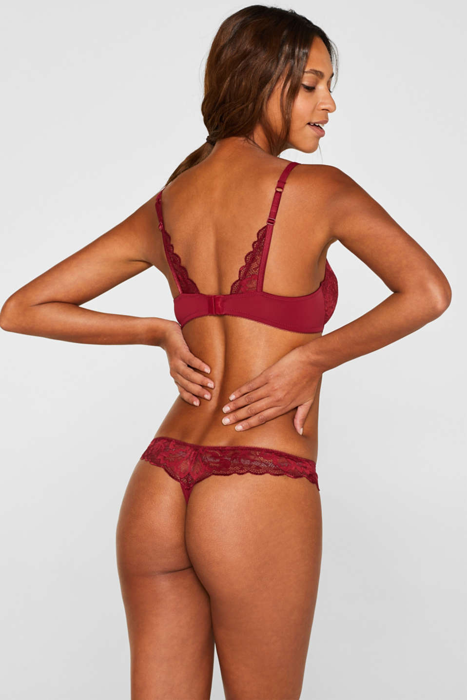 Unpadded underwire bra made of formal lace, DARK RED, detail image number 1