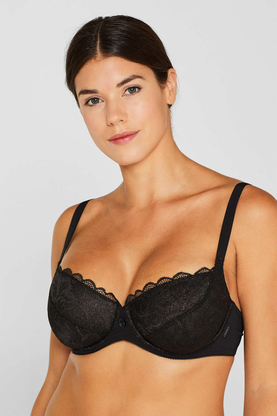 Unpadded lace bra for larger cup sizes, BLACK, detail image number 2