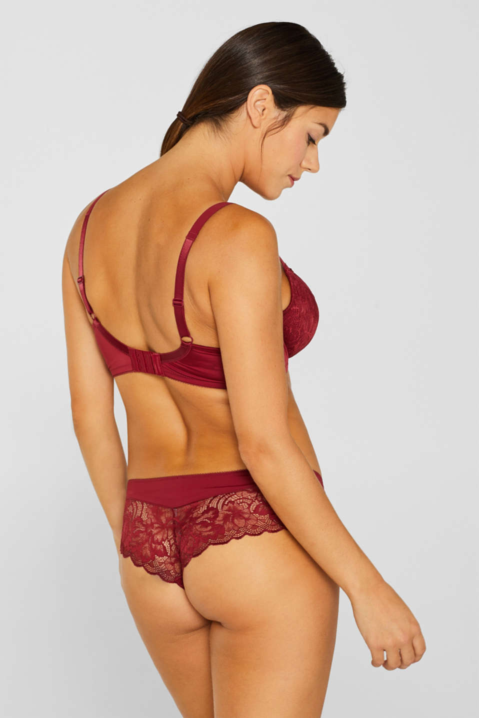 Unpadded lace bra for larger cup sizes, DARK RED, detail image number 1