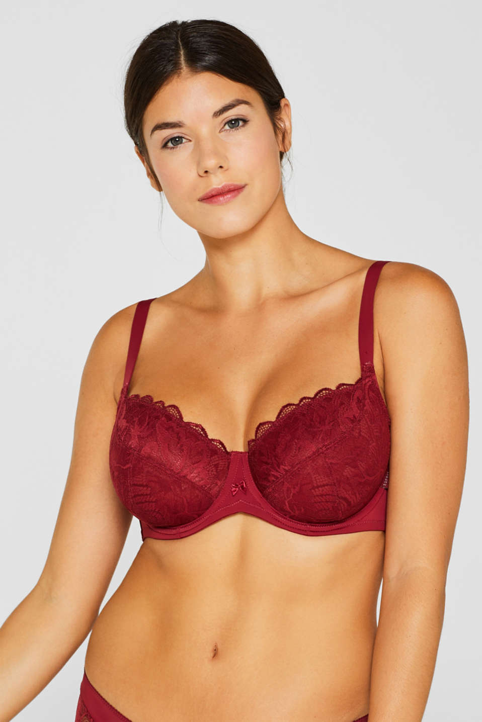 Unpadded lace bra for larger cup sizes, DARK RED, detail image number 2
