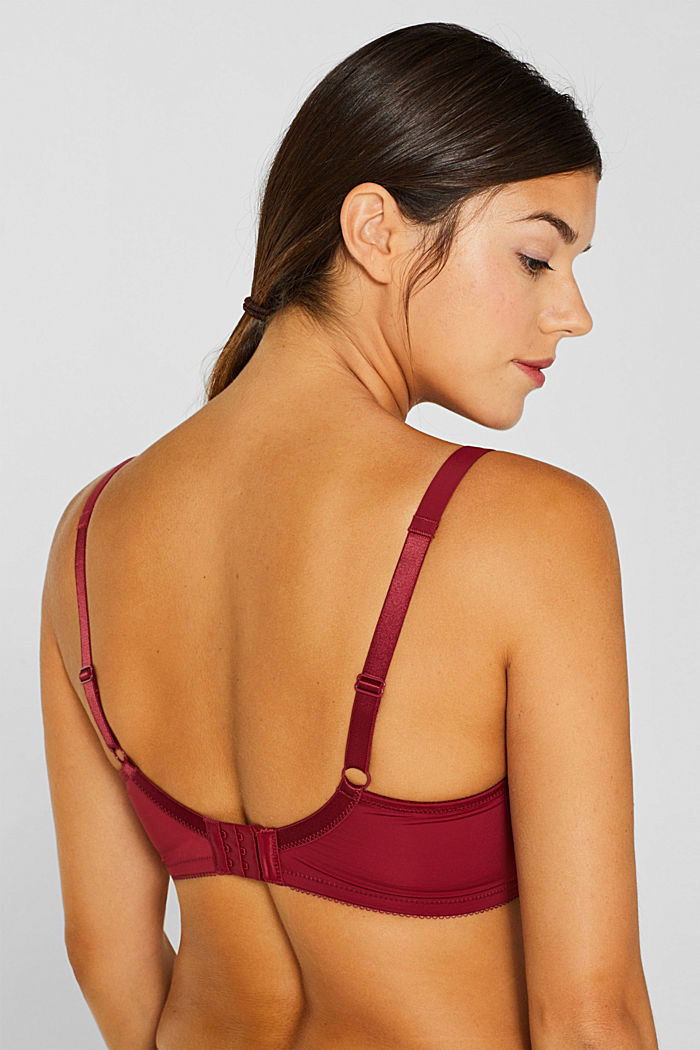 Unpadded lace bra for larger cup sizes, DARK RED, detail image number 3