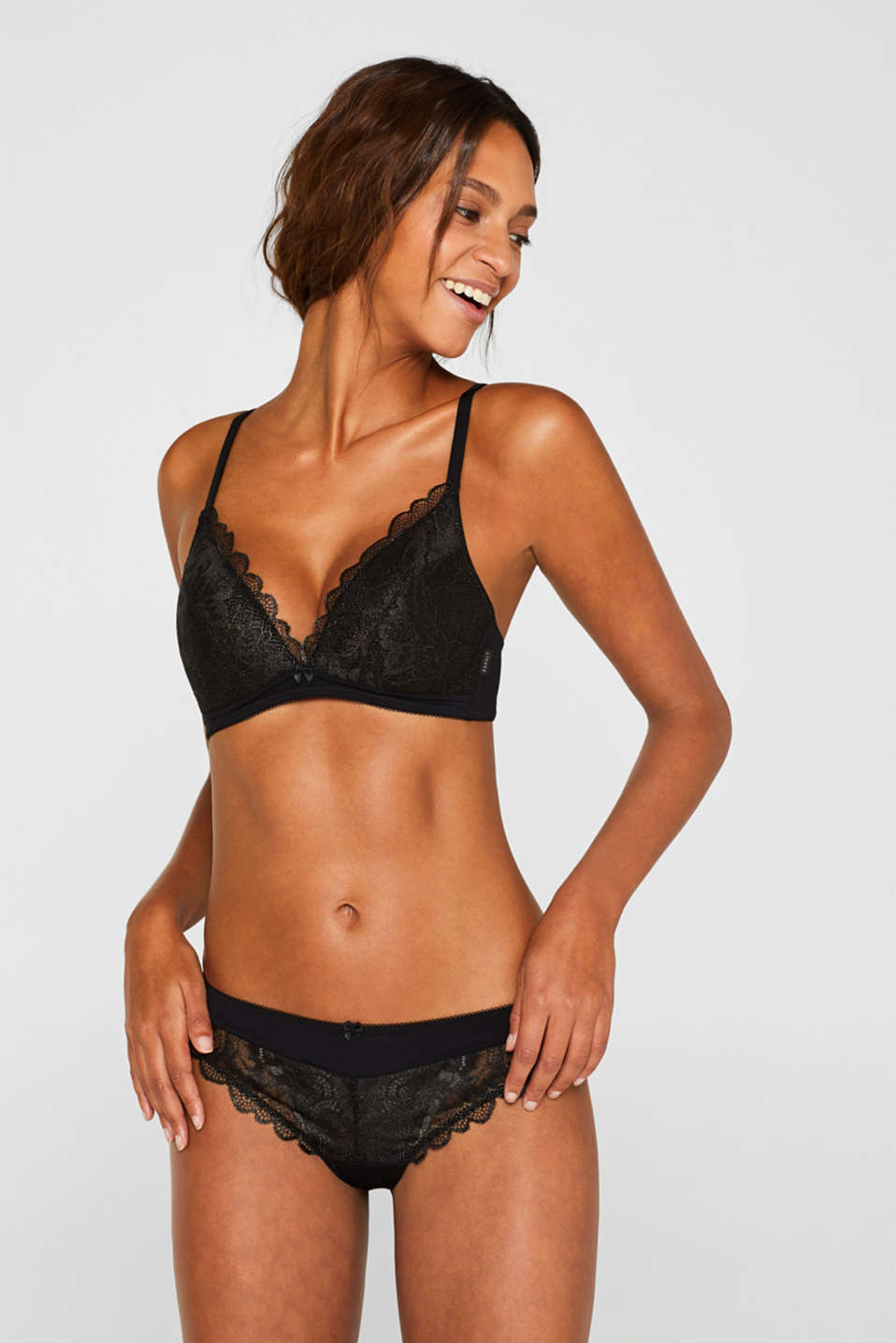 Esprit - Padded, non-wired bra made of shiny, matte lace