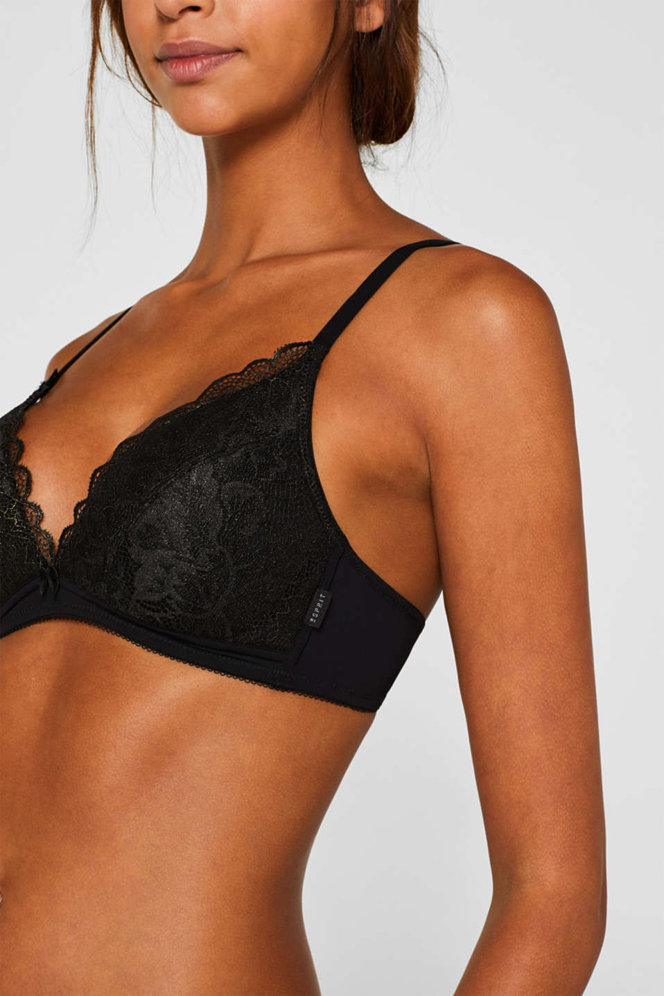 Padded, non-wired bra made of shiny, matte lace, BLACK, detail image number 2