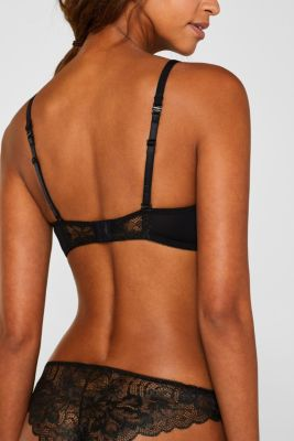 Padded, non-wired bra made of shiny, matte lace