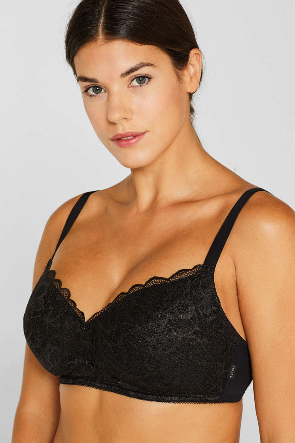 Padded, non-wired lace bra for large cup sizes, BLACK, detail image number 2
