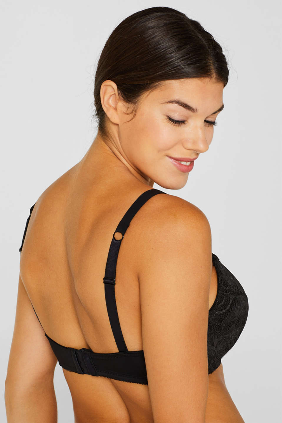 Padded, non-wired lace bra for large cup sizes, BLACK, detail image number 3