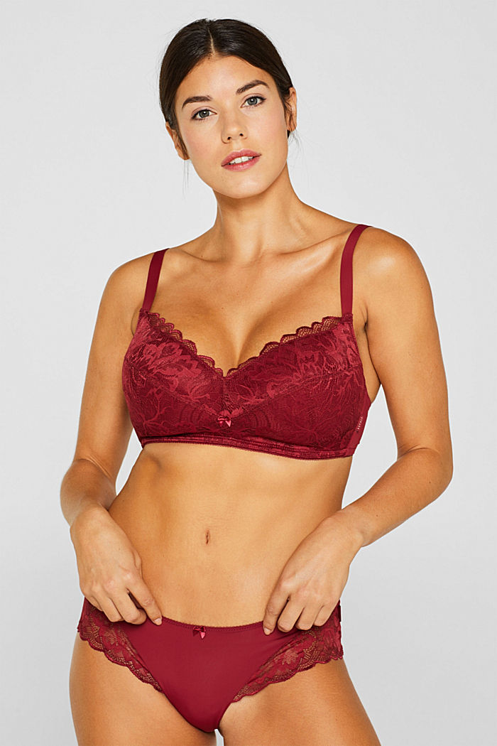 Padded, non-wired lace bra for large cup sizes, DARK RED, detail image number 0