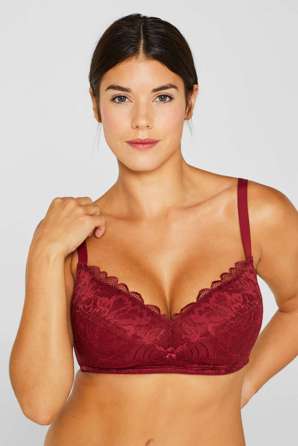 Padded, non-wired lace bra for large cup sizes, DARK RED, detail image number 2