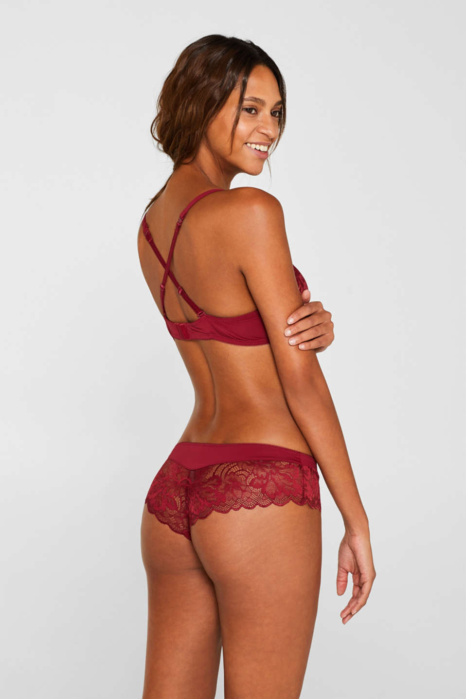 Hipster shorts made of fine lace, DARK RED, detail image number 2