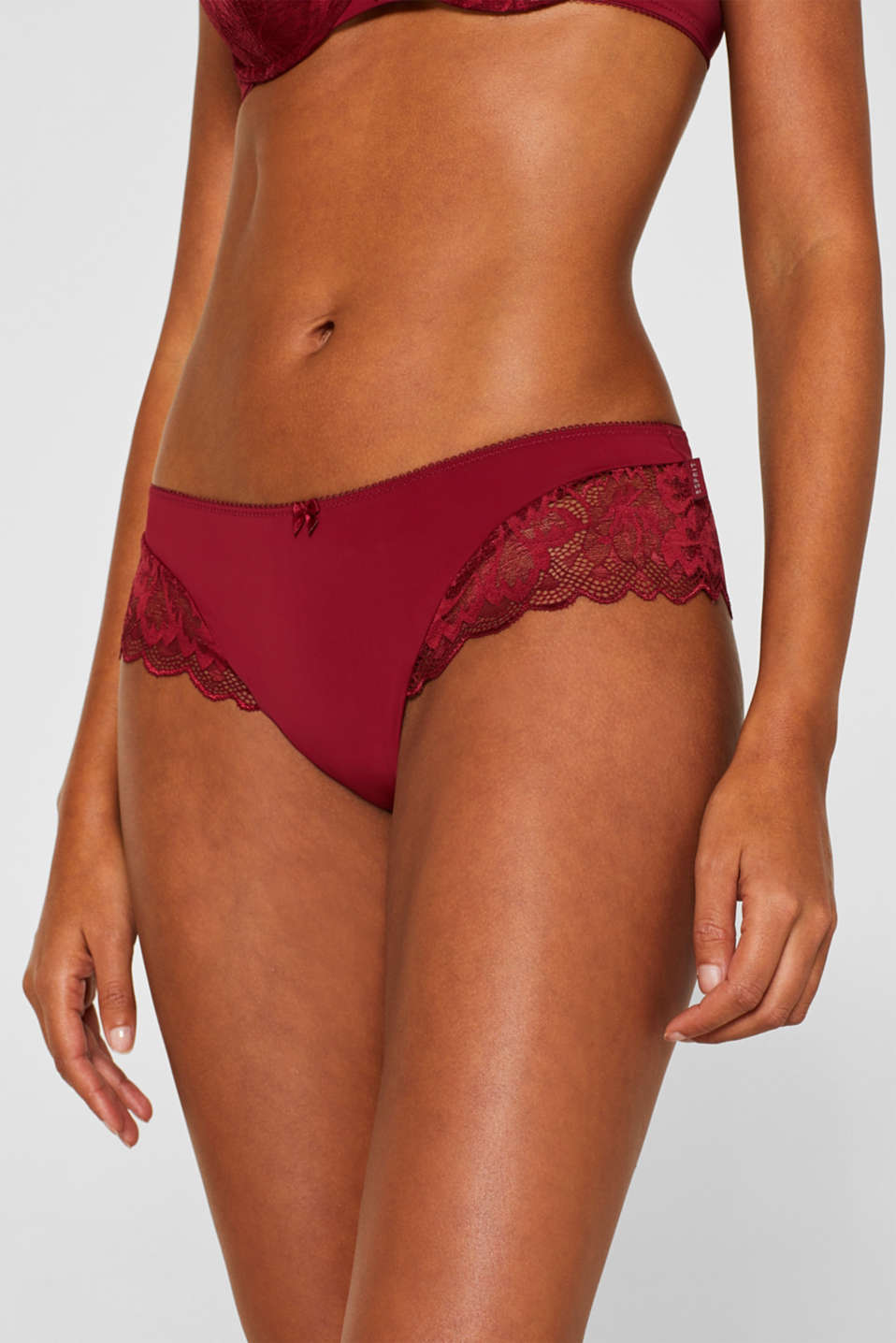 Hipster shorts made of fine lace, DARK RED, detail image number 1