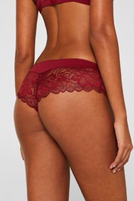 Hipster shorts made of fine lace, DARK RED, detail