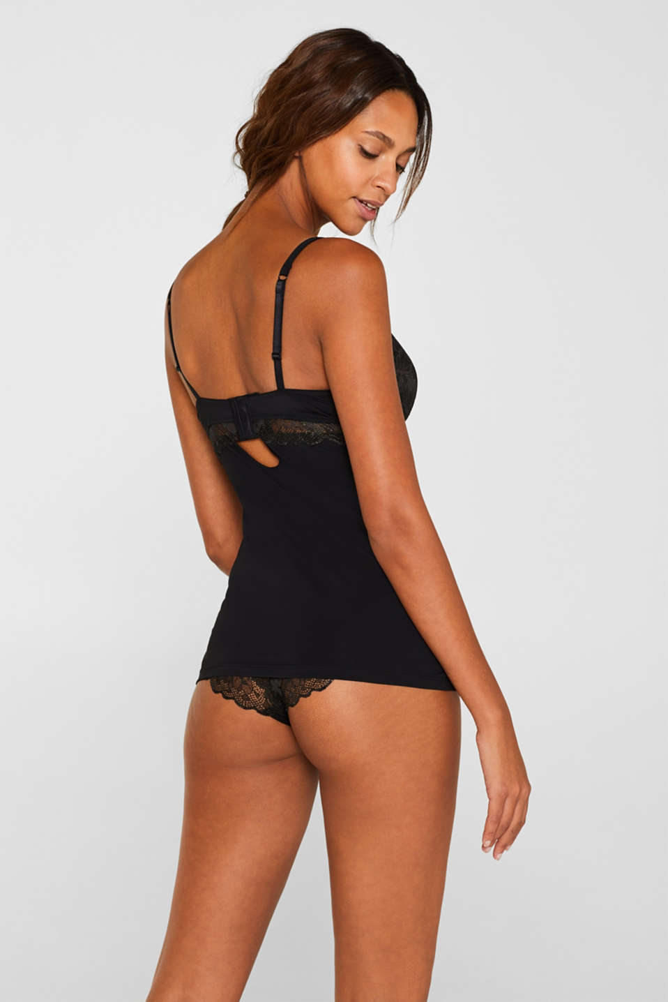 Camisole with formal lace, BLACK, detail image number 1