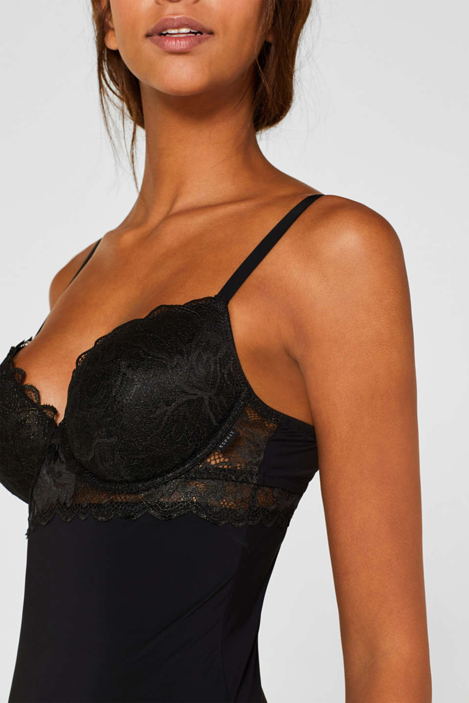 Camisole with formal lace, BLACK, detail image number 2