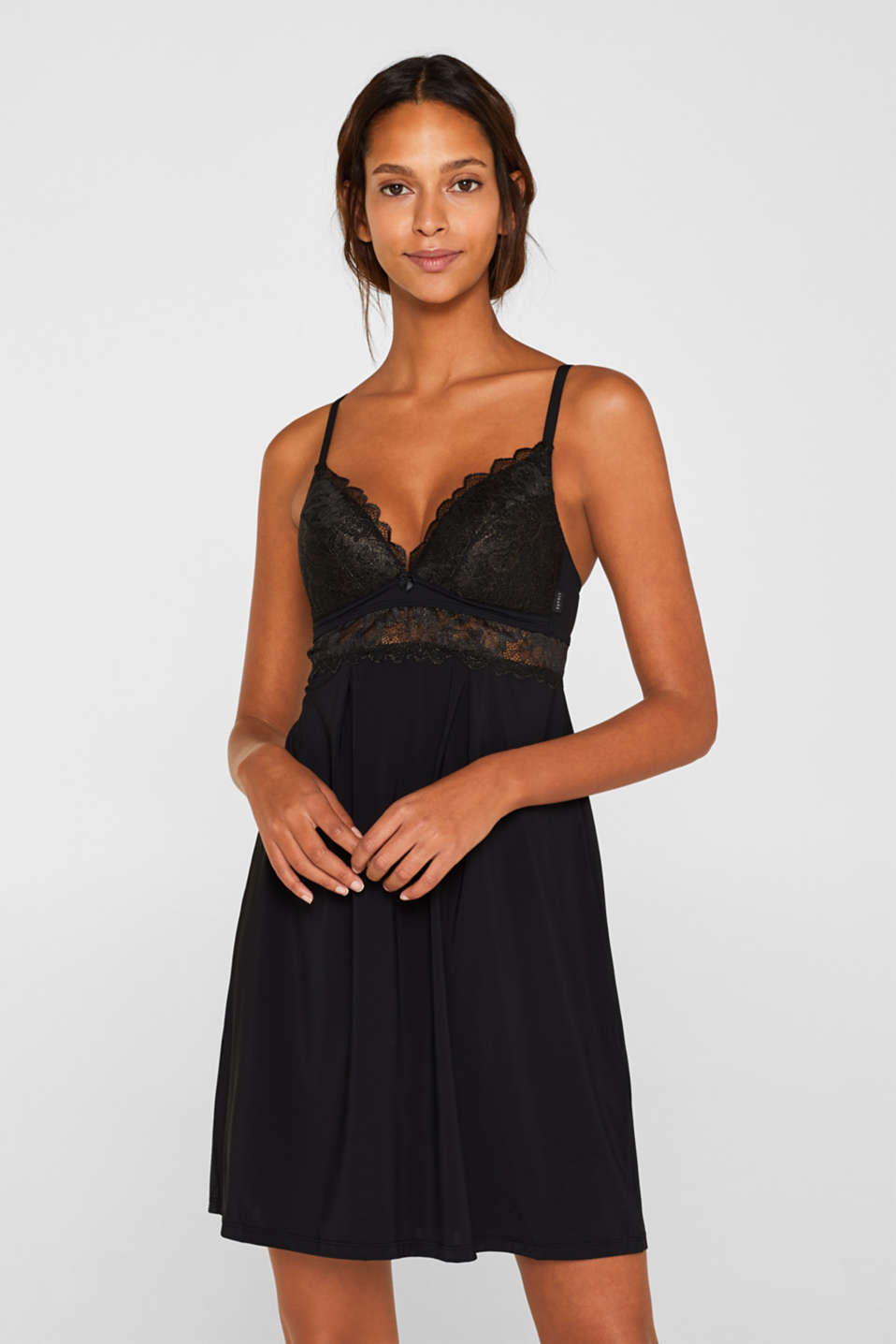 Esprit - Padded chemise with formal lace