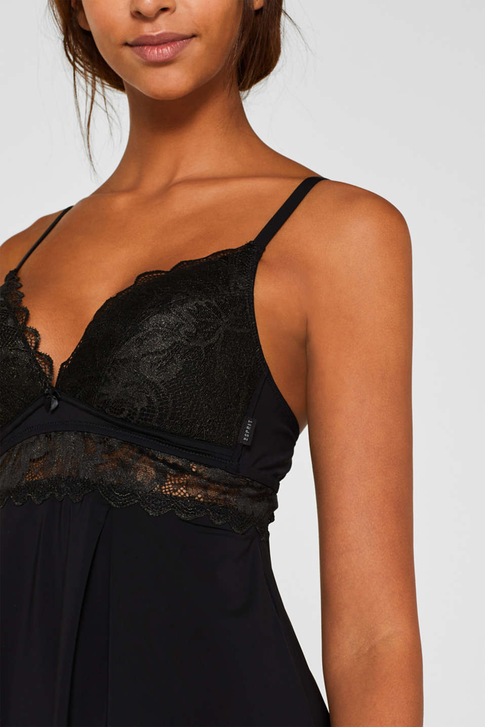 Padded chemise with formal lace, BLACK, detail image number 2